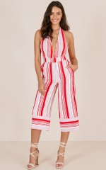 One For The Team jumpsuit in red stripe