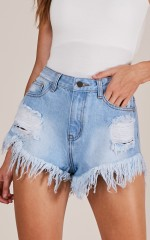 One More Summer shorts in light wash