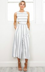 Out Dream Yourself jumpsuit in grey stripe