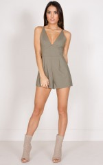 Over Again playsuit in khaki