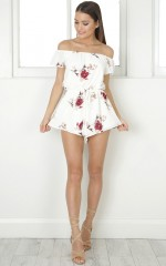 Over The Love playsuit in white floral