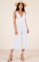 Perfectly you jumpsuit in white stripe