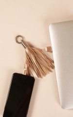iPhone charging cable tassel in gold
