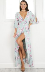 Hotel California maxi dress in sage floral