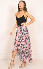 Pretty Thing Wrap Skirt in pink floral