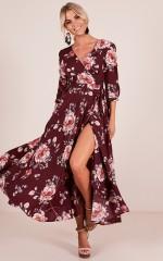 Retro Romance maxi dress in wine floral