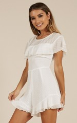 Keep Up Your Side playsuit in White