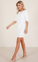 Miss Independent dress in white