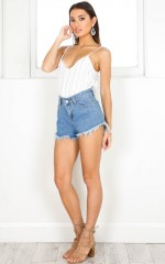 By The Shore denim shorts in mid wash