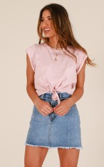 Save You top in pink stripe