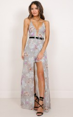 Constantly Calling maxi playsuit in grey floral