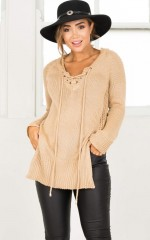 Sewn In sweater in camel