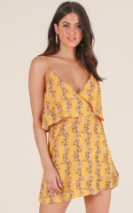 Share My World dress in yellow floral