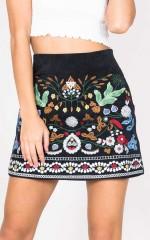 Slip Away skirt in black embroidery