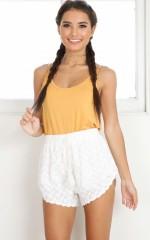 Spill Your Secret shorts in white