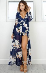 Steal the Show playsuit in navy tropical floral