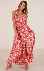 Stronger Now maxi dress in red floral