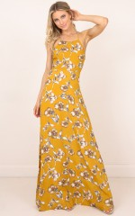 Sunny Reputation maxi dress in mustard floral