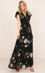 Sweet Soul maxi dress in black floral