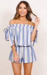 That Friday Feeling two piece set in blue stripe