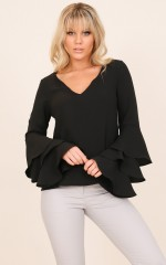 Third Time Lucky top in black