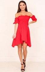 Thrill me dress in red linen look