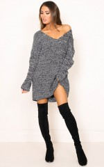 Wannabe knit dress in charcoal marle