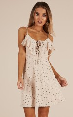 Shed A Tear dress in beige polka dot