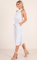 Take Too Long jumpsuit in white stripe