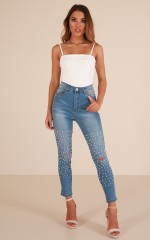 Kyla Embellished skinny jeans in light wash