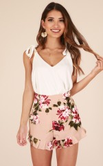 Love You Like That shorts in mocha floral