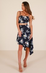 The One For Me two piece set in navy floral