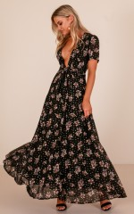 Attention Seeker maxi dress in black floral