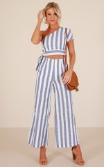 Happiness Runs two piece set in navy stripe