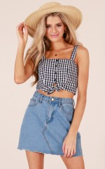 Holiday Mode crop top in black gingham