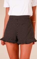 Talk About Love shorts in black polka dot