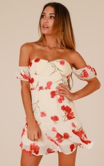 Not My Type dress in cream floral