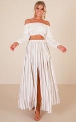 Innocent Eyes Maxi Skirt in mocha stripe