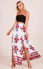 Rising Sun skirt in white floral