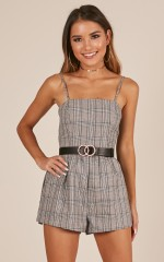 Recess playsuit in grey check
