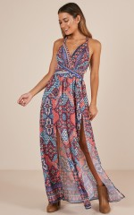 Just My Type maxi playsuit in multi print