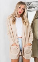 Begin Again knit cardigan in beige
