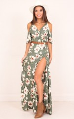 Love Never Ends maxi dress in khaki floral
