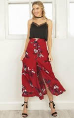 Kisses Dont Lie maxi skirt in red floral