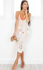 Summerville Beach Dress in  White Crochet