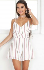 Sassy Minx playsuit in mauve stripe