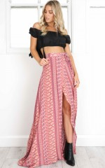Break A Leg Maxi Skirt in rust print