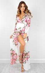 Autumn Falls maxi dress in white floral