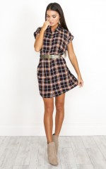 Sophisticated Square dress in mustard plaid