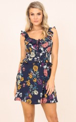 Our History dress in navy floral